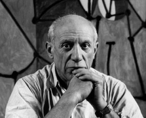 FRANCE. Paris. Rue des Grands Augustins. Pablo PICASSO at his studio in front of